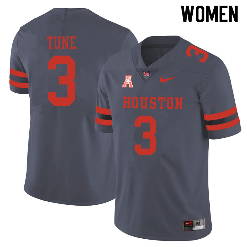 Women #3 Clayton Tune Houston Cougars College Football Jerseys Sale-Gray
